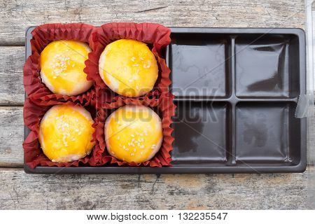 moon cake in box Traditional delicious cake in asia.