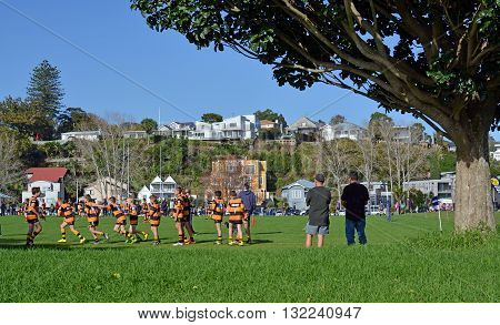 Auckland New Zealand - May 22 2016: Schoolboy Junior Rugby practice on a Sunday morning in Remuera Auckland New Zealand