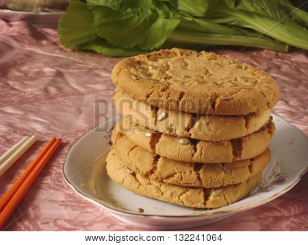 Chinese Cantonese tranditional dessert pastry walnut pies.