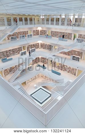 Stuttgart, Germany - May 21, 2015: The Stuttgart Public Library, Opened In October 2011, And Placed