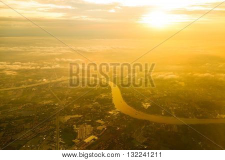 Chao Phraya River bird eye view during the sunsetTHAILAND