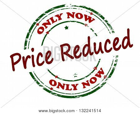 Rubber stamp with text only now price reduced inside vector illustration