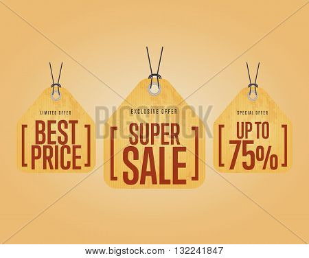 Sale tag with special ad offer. Half price sale tag. Best price tag. Sale tag. Discount offer. Advertisement tag. Vector illustration of sale tag. Design of ad offer. Special offer sale tag. Template sale tag. Discount tag. Sale offer. Three sale tag. Tag