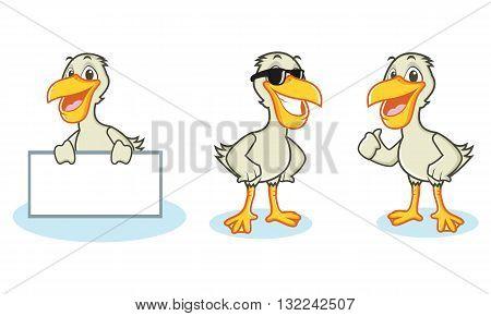 Pelican Mascot Vector happy pose and bring board