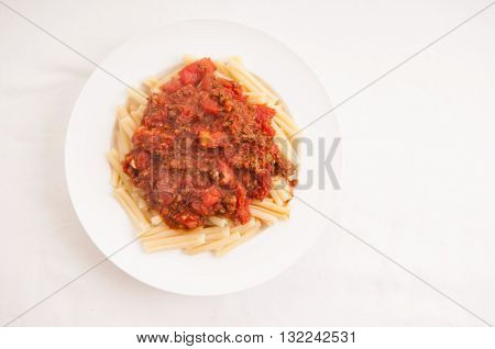 handmade tomato and beef sauce with gemelli pasta