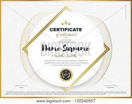 Certificate vector template. Diploma design. Graduation, achievement, success. Certificate document. Certificate design. Business document. Decorative certificate. Gold certificate. Certificate.