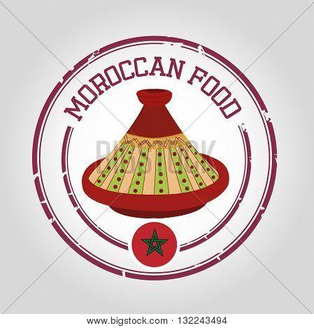 Moroccan food with tajine and flag stamp