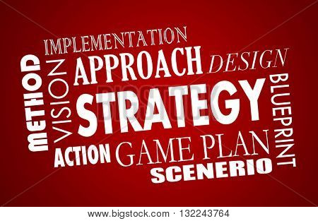 Strategy Plan Business Vision Word Collage 3d Illustration
