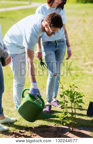 volunteering, charity, people and ecology concept - group of happy volunteers planting and watering tree with can in park