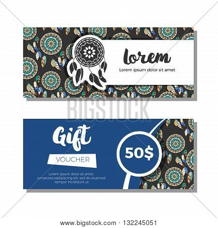 Gift vouchers with dreamcatcher background. Vector illustration. Colorful dreamcatchers on dark background. Gift coupons with freehand pattern and logo