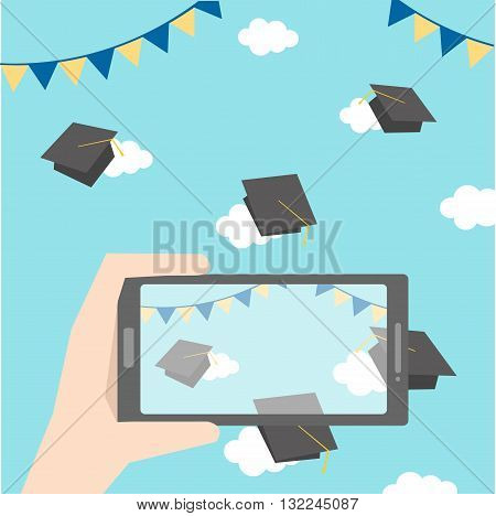 celebrations of happy graduation with smart phone