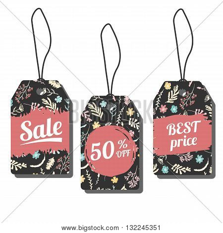 Sale tags. Vector illustration with freehand ink textures. Wildflowers, moss and berries on dark background. Prise labels with freehand pattern