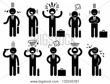 Businessman stress pressure, business mental issues, concept vector icons with pictogram people characters. Pressure mental and depression, business mental pressure illustration