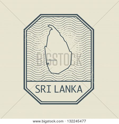 Stamp with the name and map of Sri Lanka, vector illustration