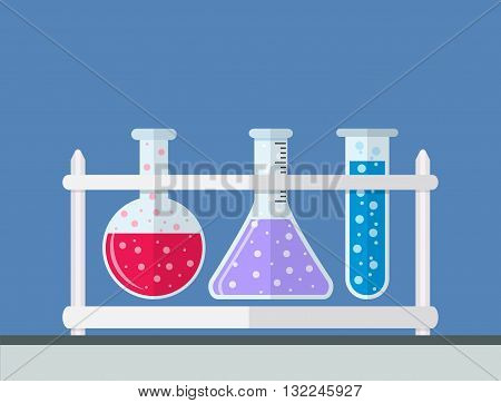 multicolor test tubes bubbling sparkling liquid in rack. Science, education, chemistry, experiment, laboratory concept. vector illustration in flat design