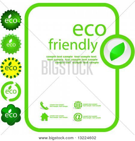 Set of eco friendly, natural and organic elements.