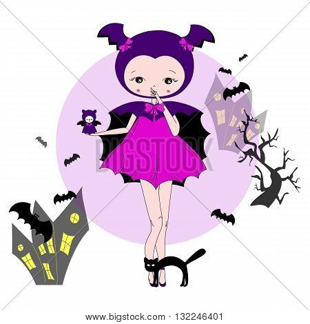 Cute little girl in a suit with a toy. Character design illustration. Halloween. Masquerade. Print for children. Background for kids