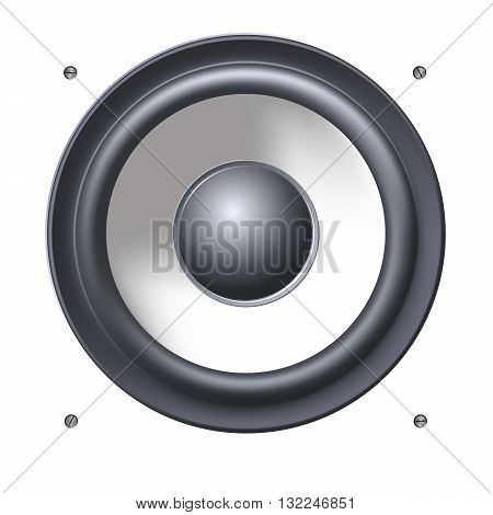 Background with sound speakers dynamics. Audio speaker on background with bolts. Vector Illustration. Great background for advertising and design