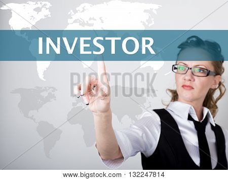 investor written on a virtual screen. Internet technologies in business and tourism. woman in business suit and tie, presses a finger on a virtual screen.