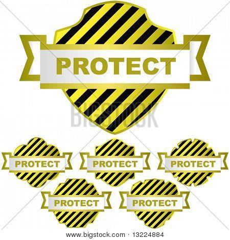 Vector protect shield. Vector set.