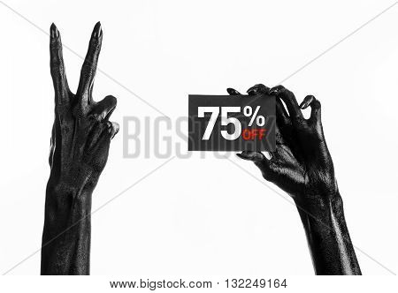 Hot Sale Topic: Black Hand Holding A Card With 75% Discount On White Background