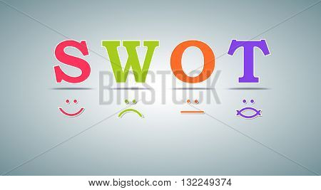 SWOT analysis template - for commercial and private use - emoticons design