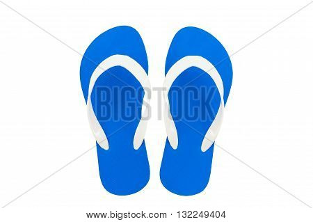 Colorful of Sandals shoes Blue flip flops isolated on white background.