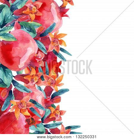 Watercolor pomegranate bloom branches and fruit card. Pomegranate fruit berries and flower on white background. Hand painted illustration