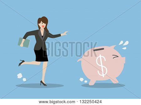 Business woman try to catch piggy bank. Business concept