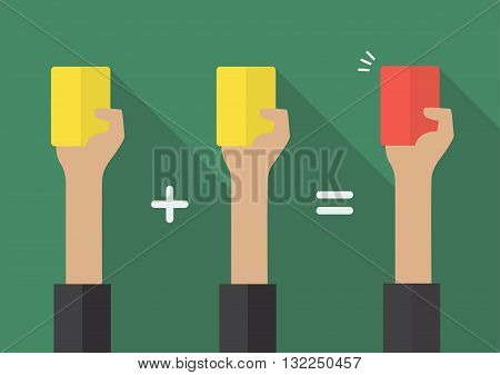Two yellow card for a red card. Vector illustration