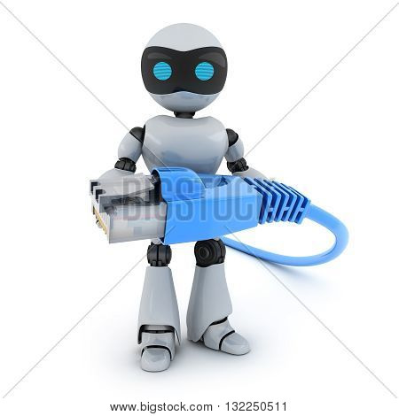 Robot and computer cable (done in 3d rendering)
