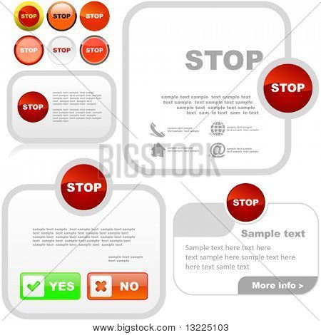 Stop banners. Vector set for web.