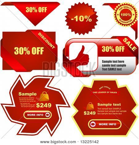 Vector great collection of red sale signs