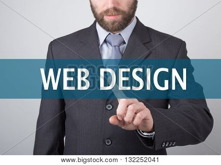 technology, internet and networking concept - Businessman presses web design button on virtual screens. Internet technologies in business.