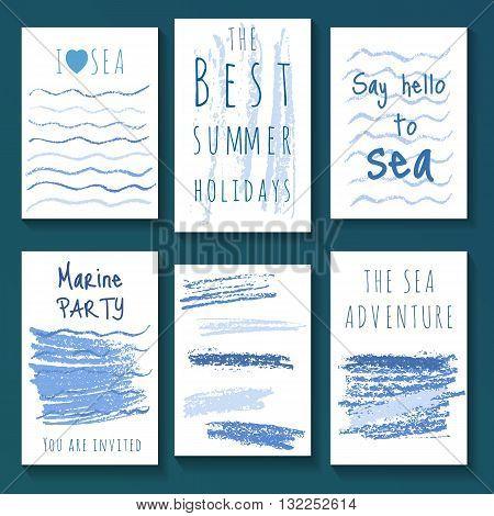 Set of crayon hand drawn creative marine cards. Sea card templates. Summer cards.
