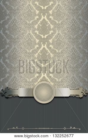 Vintage background with decorative borderframe and old-fashioned elegant patterns. Vintage invitation card or book cover design.