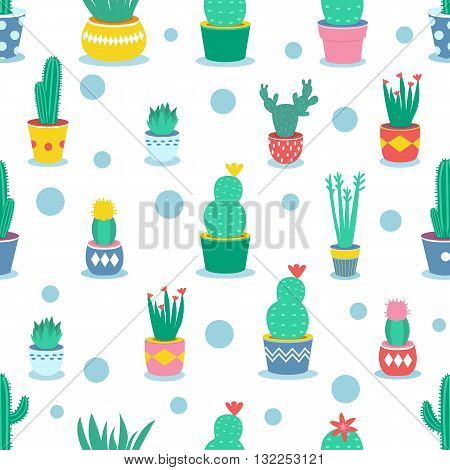 Seamless pattern with cactuses and houseplants in pots. Vector cartoon illustration.