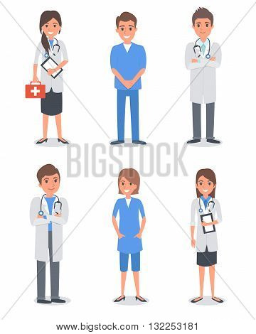 Isolated doctors and other hospital workers. Vector illustration.