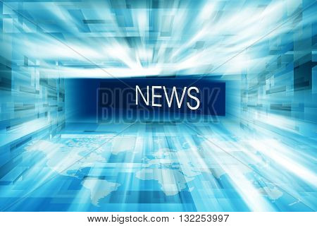 Futuristic Modern Hightech Enclosed News Studio Background News Text in Perspective