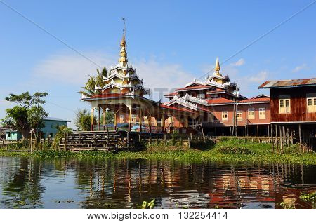 Buddhist temple in the village on Inle Lake, Myanmar (Burma)