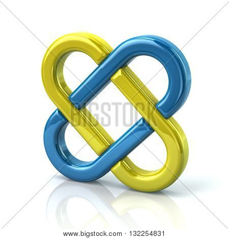 3D Illustration Of Yellow And Blue Endless Knot