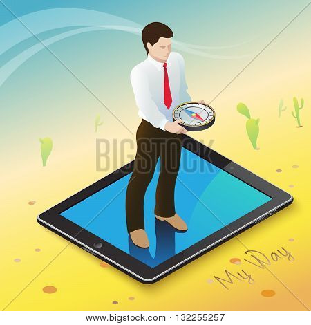 3d isometric mobile web surfer infographics concept. Conceptual illustration of a businessman on a mobile device with a compass in hand in the middle of the hot desert into an oasis of information.