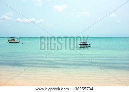 Little old fishing boats at Aruba island in the Caribbean sea