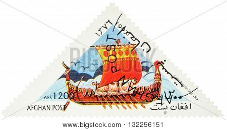 MOSCOW RUSSIA - MAY 17 2016: A stamp printed in Afghanistan shows image of ancient russian war ship Ladia series