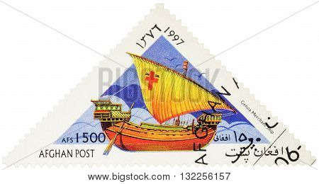 MOSCOW RUSSIA - MAY 17 2016: A stamp printed in Afghanistan shows image of ancient Genoa merchant ship series