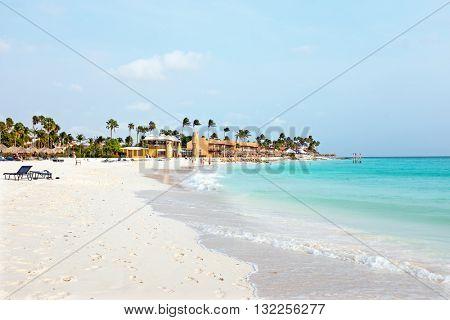 Manchebo beach on Aruba island in the Caribbean