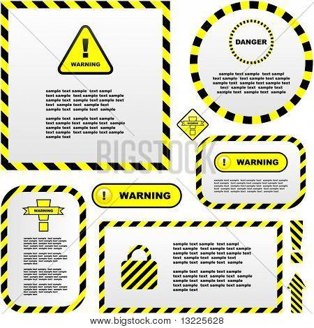Warning vector labels. Vector template.