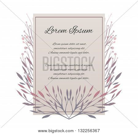 Vector card with place for your text.The letter of thanks. Invitation with tender plants