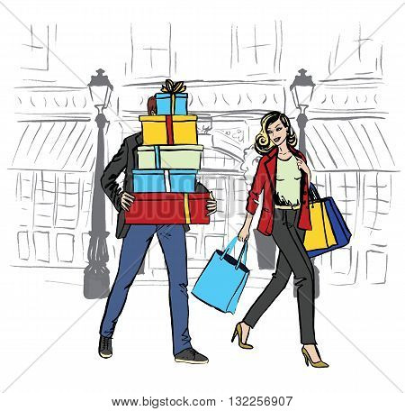 Beautiful woman with shopping bags and man with boxes walking on boutique street