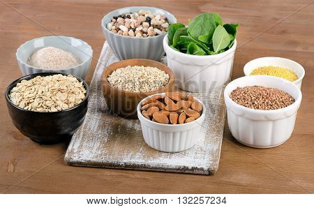Food Sources Of Silicon On  Wooden Table.